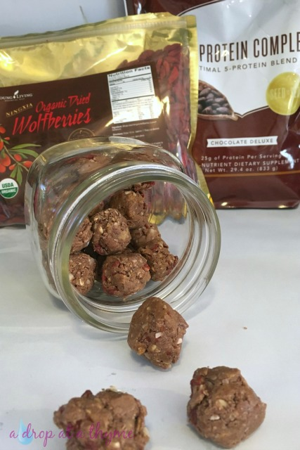 Chocolate Wolfberry Energy Bites Using Young Living Products