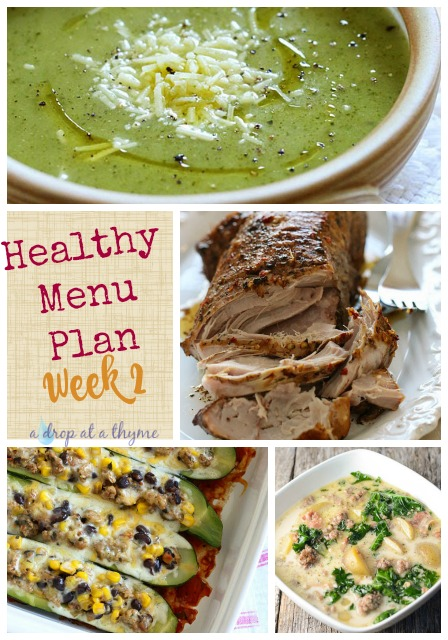 Healthy Menu Plan Week 2